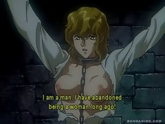 Blonde anime girl in chains gets whipped until she bleeds