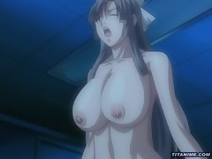 Anime busty slut gets her juicy boobs licked by boy