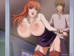 Hot anime redhead with big melons takes it