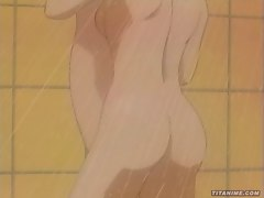 Dirty anime with plump breasts gets her wet pussy licked clean in the shower