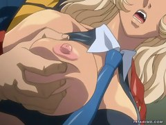Smashing hot blonde hentai babe takes it right up her cute little pussy