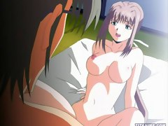 Stunning anime babe with round big boobs getting slammed hard