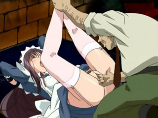Petite anime maid in chains takes a dildo up her cunt