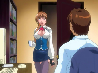 Hot anime lady puts her huge bouncy boobs in the office