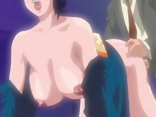 Naughty secretary begs for more huge anime cock