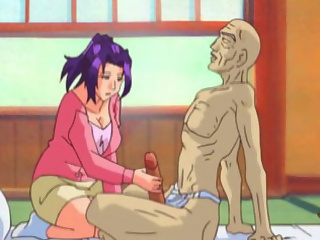 Horny busty anime milf jerks off an old man while he sucks her big juicy tits